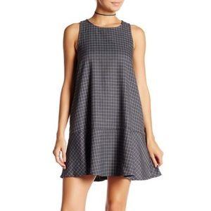 NWT Blush Noir grey and white Grid A-line Dress